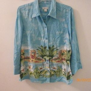 CHRISTOPHER & BANKS HAWAIIAN SHIRT TURQUOISE LARGE